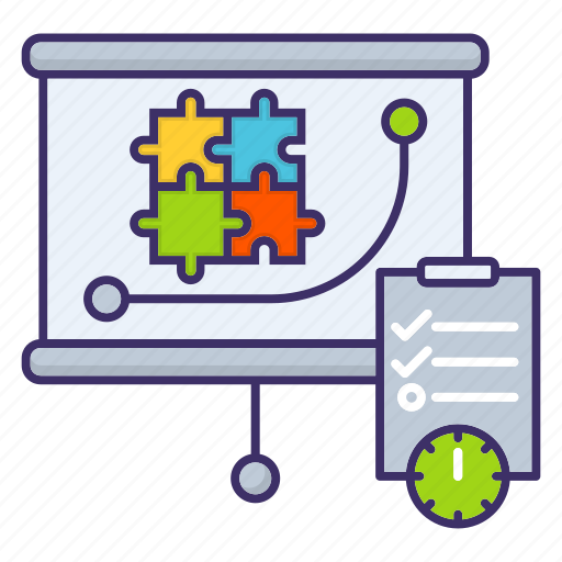 economics, management, planning, puzzle, strategy icon