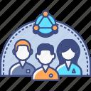groups, heterogeneous, market, research icon
