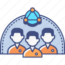 groups, homogeneous, market, research icon