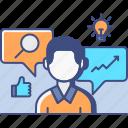 consultant, male, market, research icon
