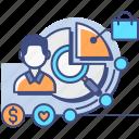 market, research, segmentation, shop icon