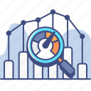 analytics, benchmark, meter, research icon