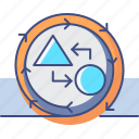 causation, cycle, market, research icon