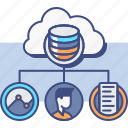 cloud, collection, data, research icon