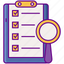 checklist, document, inspection, magnifier icon