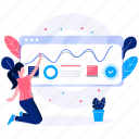 custom icon, illustrations, marketing, paper, plant, web, woman icon