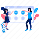 characters, flower, plant, team, team work, web, woman icon