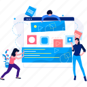 characters, marketing, paper, plant, team, web, woman icon