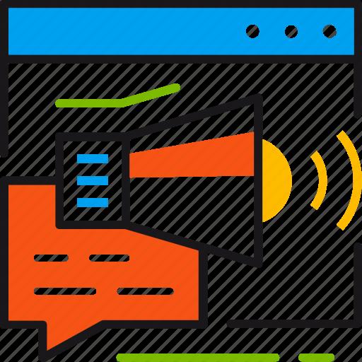 advertisment, campaign, communication, digital, internet, loudspeaker, marketing icon