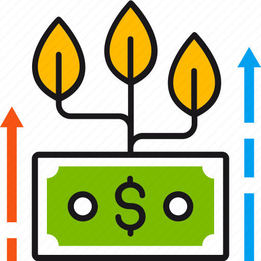 business, growth, increase, leaves, money, profit, success icon