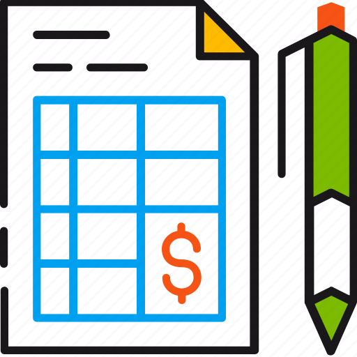bill, budget, grid, invoice, payment, pen, plan icon