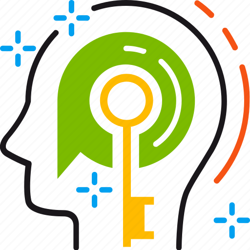 creative, head, idea, key, mind, solution, thinking icon