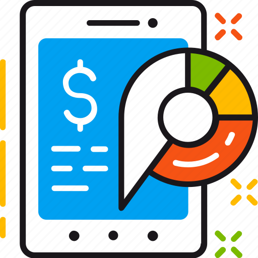 app, business, diagram, finance, mobile, statistics, tablet icon