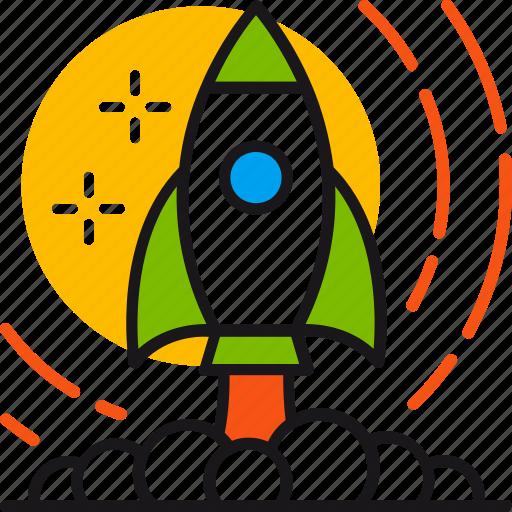 future, innovation, launch, rocket, start, startup, technology icon