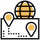 distribution, export, location, positioning, shipping icon