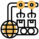export, import, manufacture, production, distribution icon