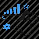 seo, star, growth, bar, graph, cog, setting icon