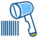 barcode reader, barcode scanner, barcode scanning, product, scanner, scanner machine icon