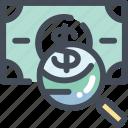 cash, finance, find, money, search icon