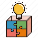 box, bulb, idea, marketing, solution, strategy icon