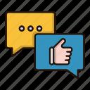chat, conversation, feedback, marketing, positive icon