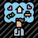 home, money, motivation, psychology, thinking icon