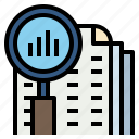 analysis, magnifier, research, search, statistics icon