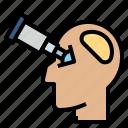 business, head, idea, telescope, vision icon