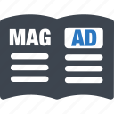 ad, advertisement, advertising, magazine icon