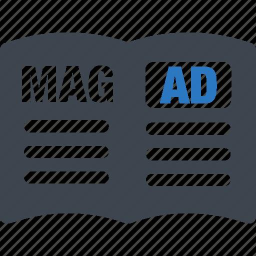 ad, advertisement, advertising, magazine icon