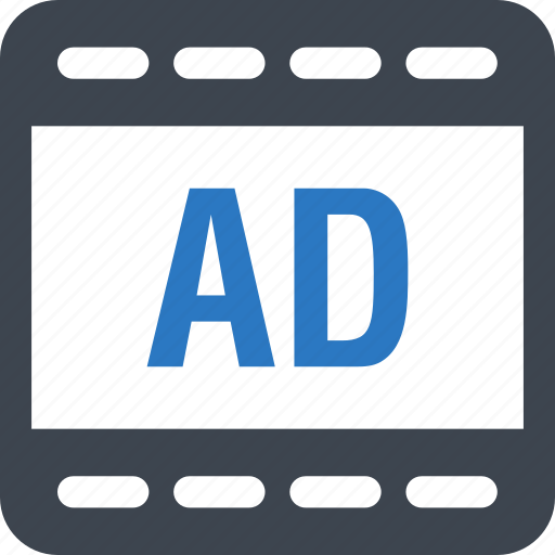 ad, advertisement, advertising, cinema icon