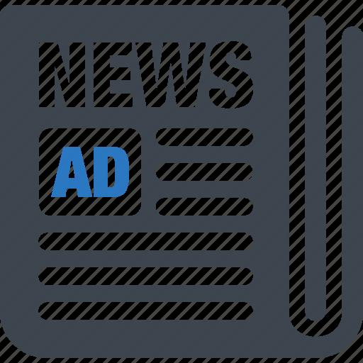 ad, advertisement, advertising, newspaper icon