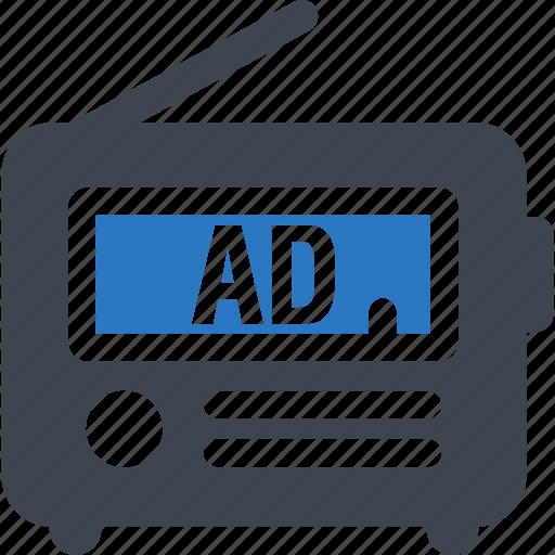 ad, advertisement, advertising, radio icon