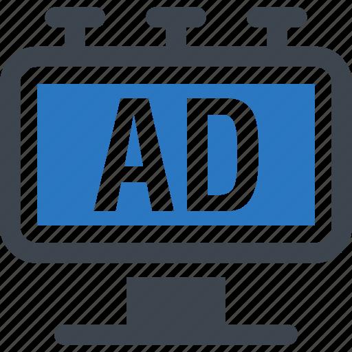ad, advert, advertising, billboard icon