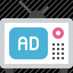 ad, marketing, media, multimedia, promotion, television, tv icon