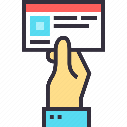 advertising, business, card, company, contact, hand, promotion icon