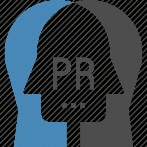 communication, conversation, head, human, pr, public, relations icon
