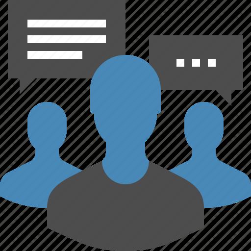 communication, conversation, focus, group, human, people, team icon