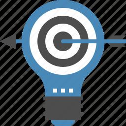 bulb, goal, idea, light, marketing, success, target icon