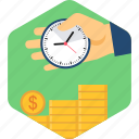 alarm, alarming, clock, coin, financial, revenue, target icon