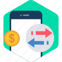 mobile, pay, payment, receive, salary, send, upload icon