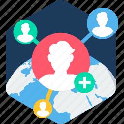 global, globe, links, social, user, users icon