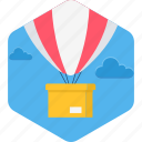 hot air balloon, delivery, hotair, balloon, shipping icon