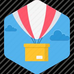 balloon, delivery, hot air balloon, hotair, shipping icon