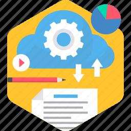 cloud, computing, downloading, hosting, performance, storage, uploading icon