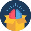 brain, idea, innovation, innovative, logistic, package, parcel icon