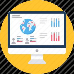 analysis, analytics, chart, computer, display, monitor, screen icon