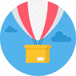 air, airplane, balloon, balloons, delivery, hot, method icon