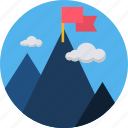 agenda, aim, delivery, marketing, mountain, success icon