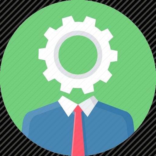 brain, cog, control, innovation, man, setting, settings icon